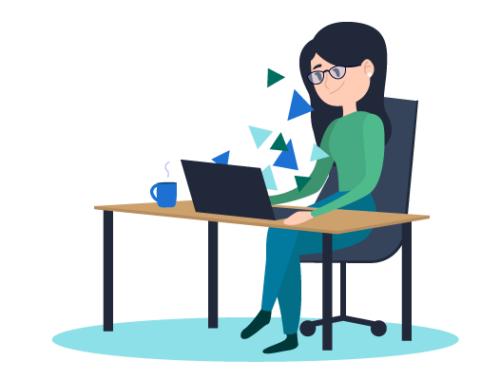 Illustration Mädchen vor Laptop